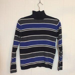 Turtle neck striped shirt.